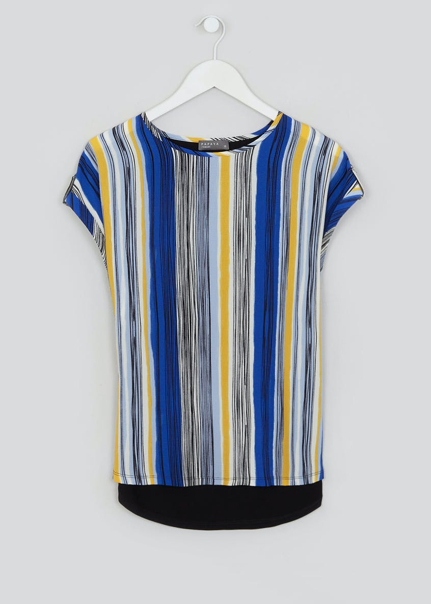 Short Sleeve Stripe Crepe Front Top