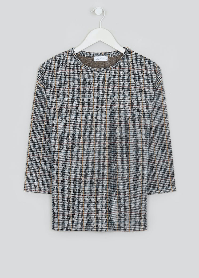 3/4 Sleeve Check Co-Ord Top