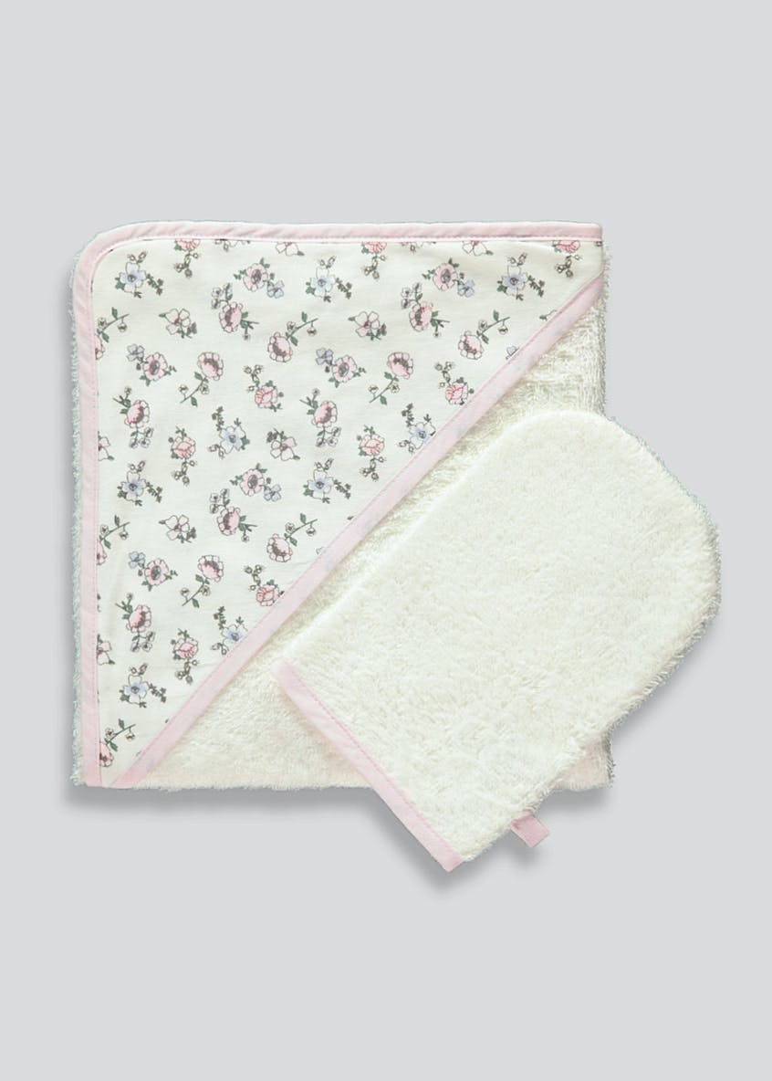 Floral Hooded Towel & Wash Mitt (One Size)