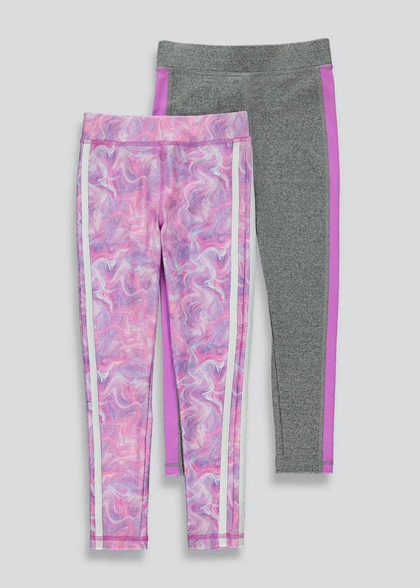 Girls Souluxe 2 Pack Swirl Print Sports Leggings (4-13yrs)