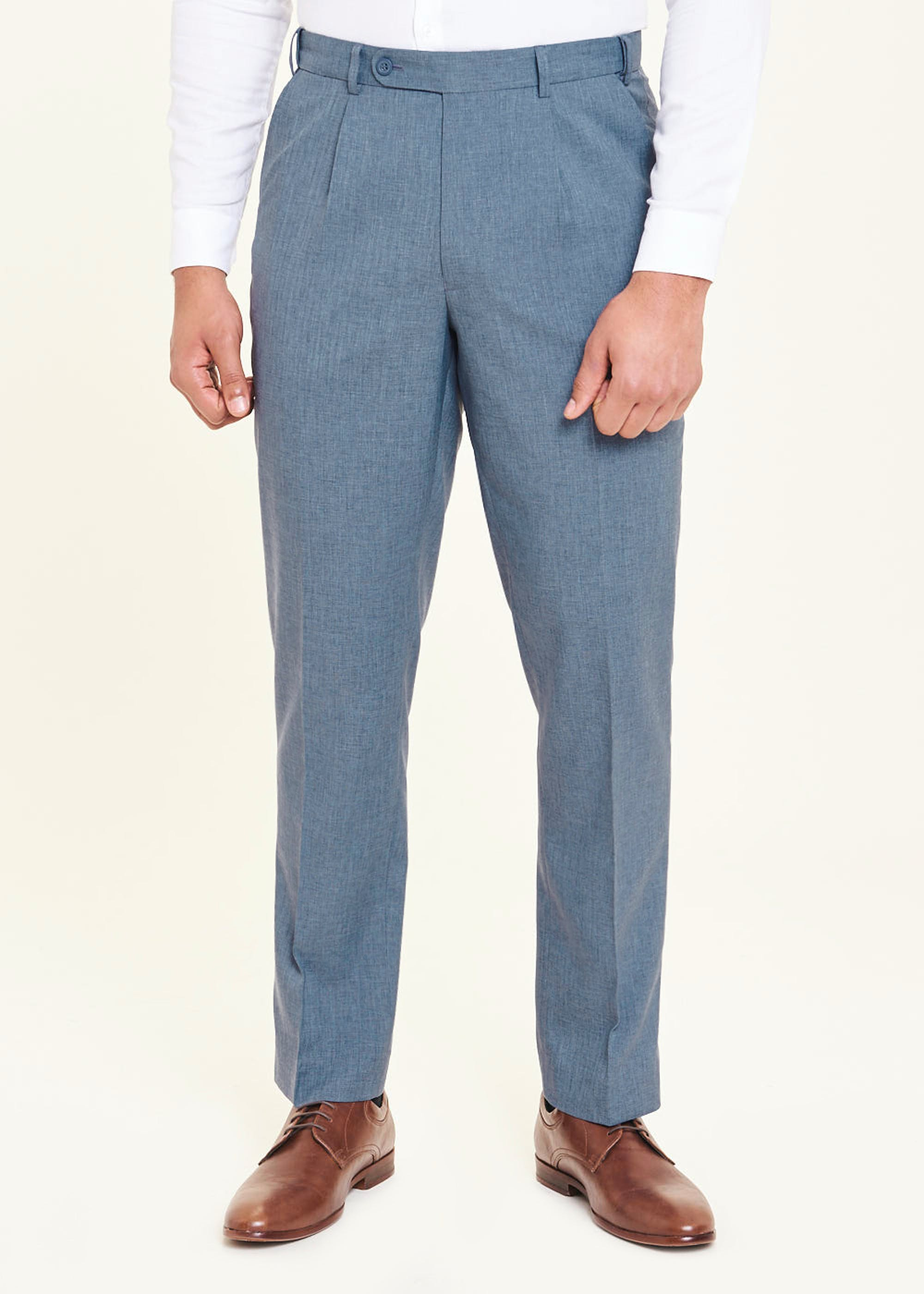 Taylor & Wright Regular Fit Flexi Waist Trousers Blue a6iW8x