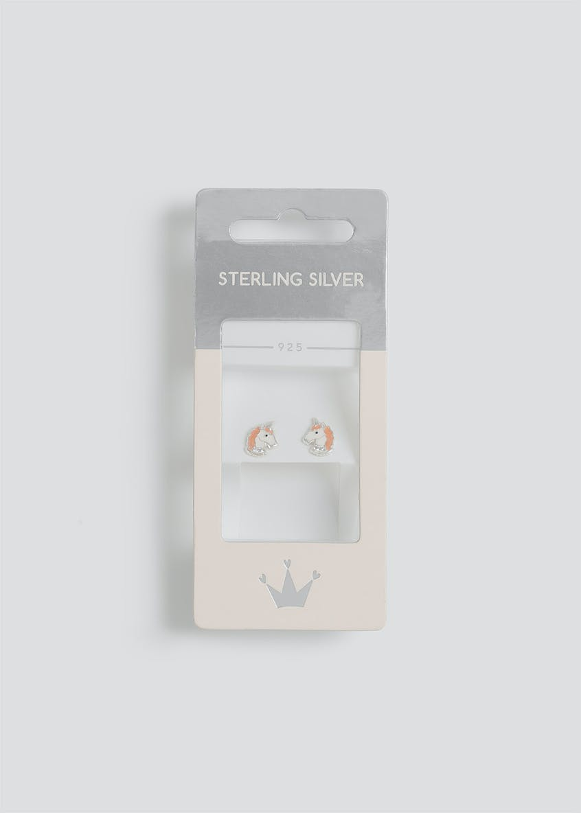 Girls Sterling Silver Unicorn Stud Earrings
