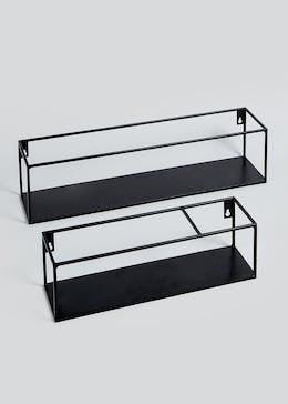 Set Of 2 Rectangular Metal Shelves