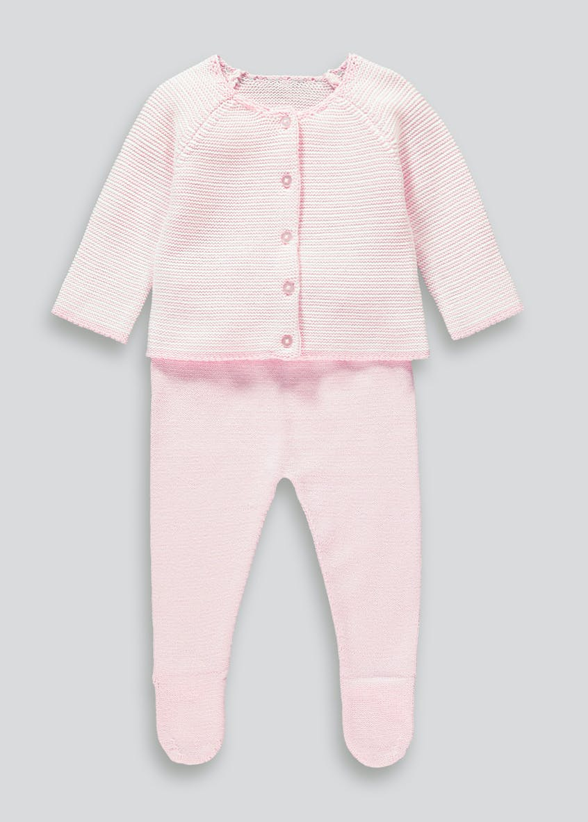 Girls Knitted Stripe 2 Piece Set (Tiny Baby-23mths)