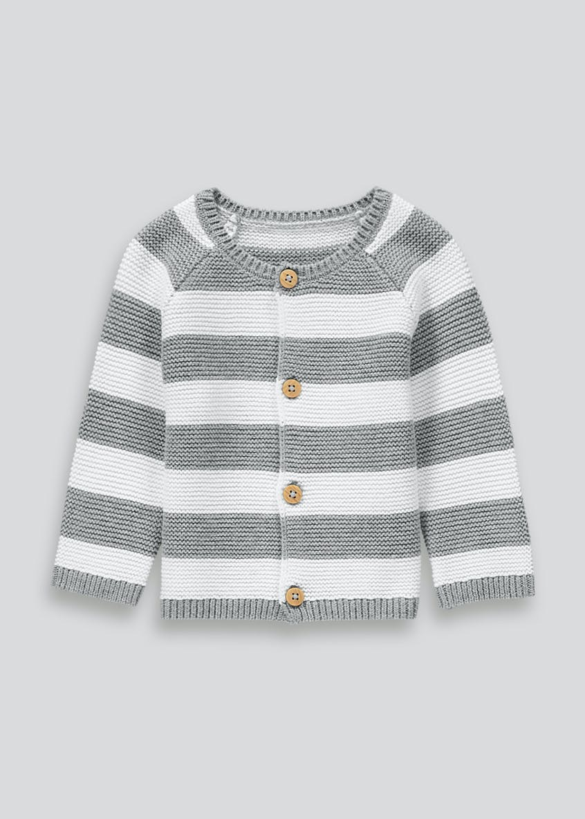 Unisex Knitted Stripe Cardigan (Tiny Baby-18mths)