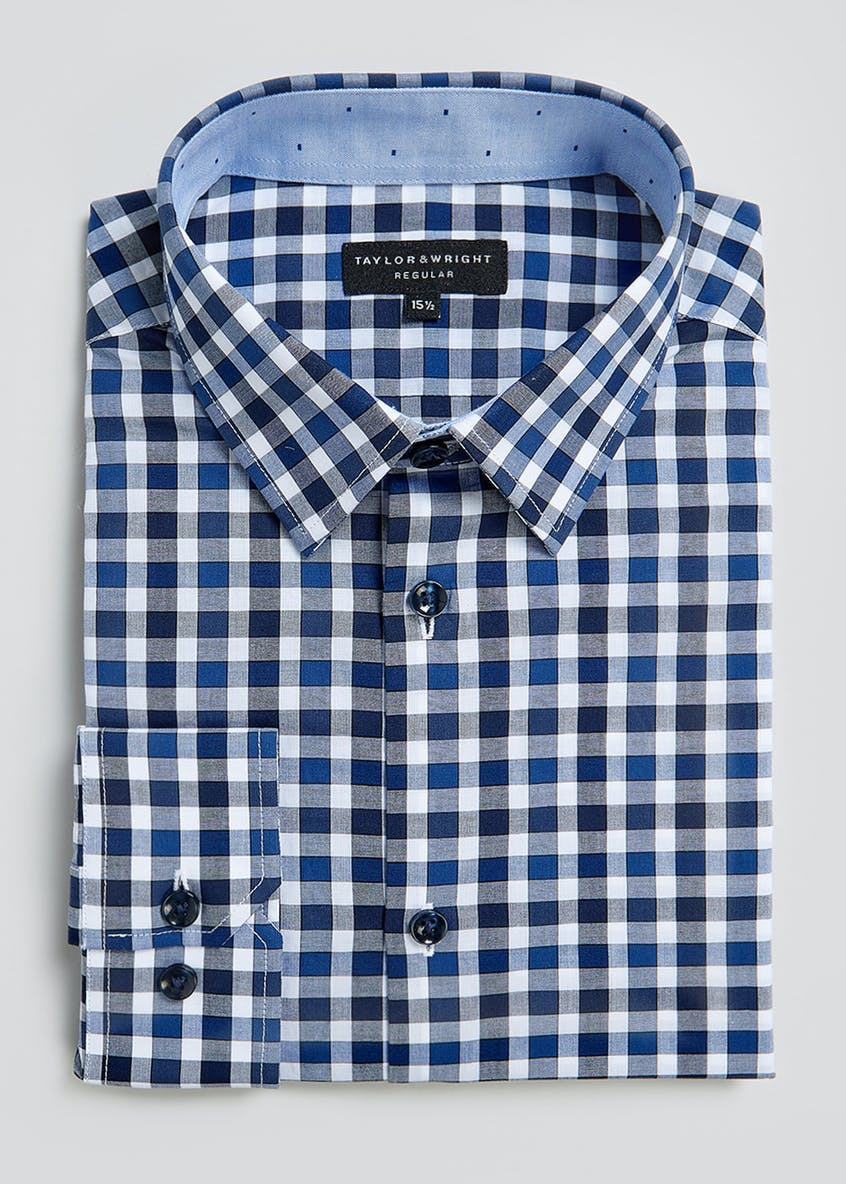 Taylor & Wright Long Sleeve Regular Fit Gingham Shirt