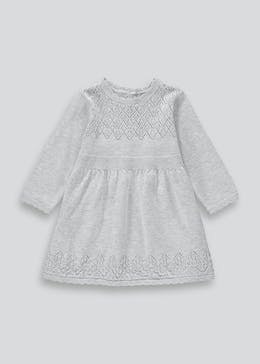 Girls Grey Long Sleeve Knit Dress (Tiny Baby-23mths)