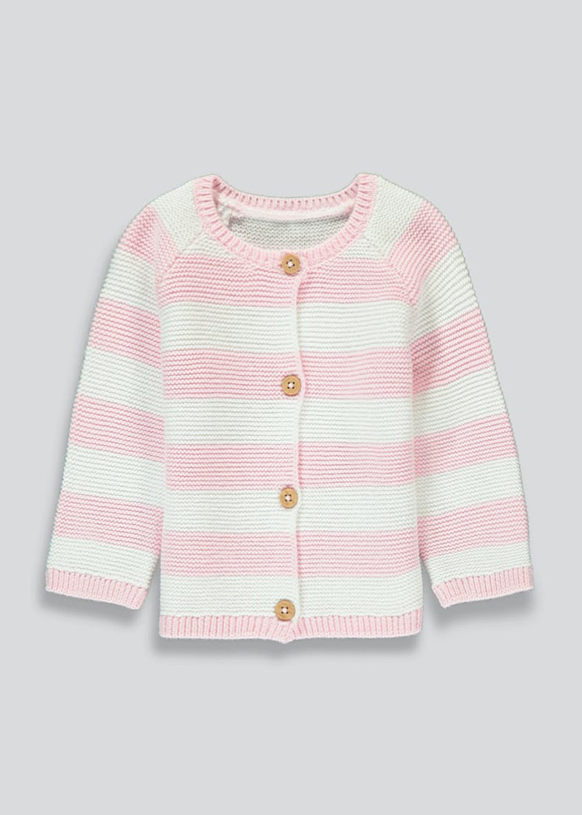 Girls Knitted Stripe Cardigan (Tiny Baby-18mths)