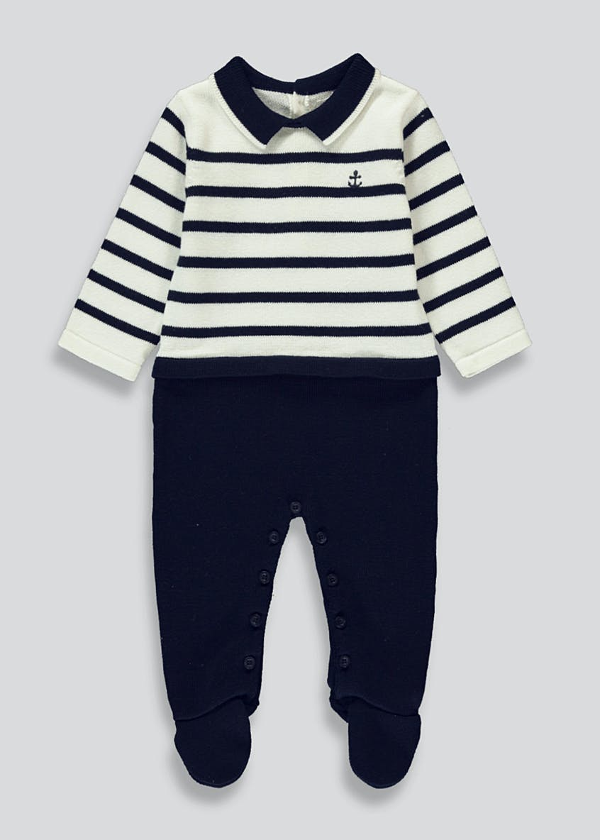 Unisex Knitted Nautical Romper Suit (Tiny Baby-18mths)