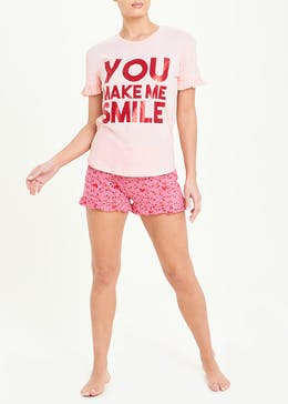 Smile Slogan Short Pyjama Set