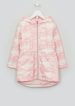 Girls Pink Fleece Lined Hooded Mac (4-13yrs)
