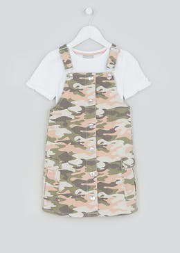 Girls Green Camo Print Pinafore Set (4-13yrs)