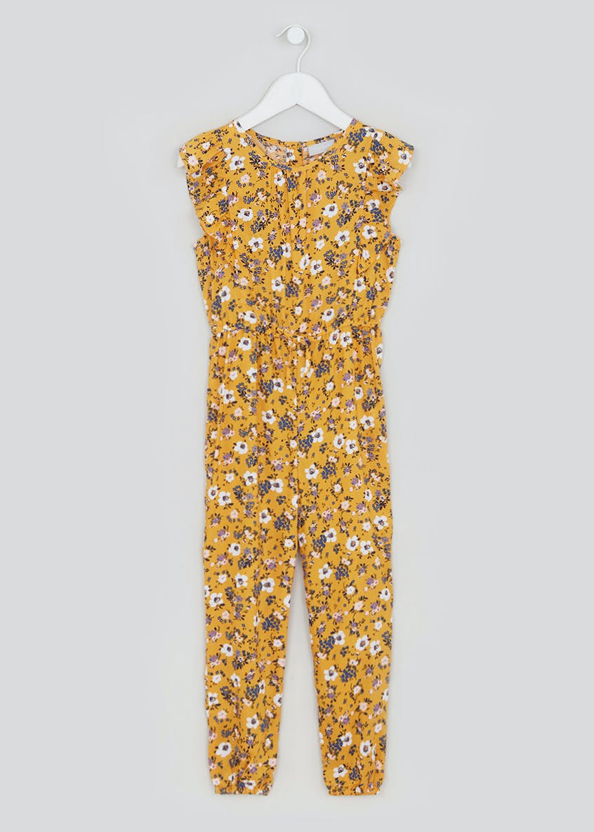 Girls Ochre Floral Short Sleeve Jumpsuit (4-13yrs)