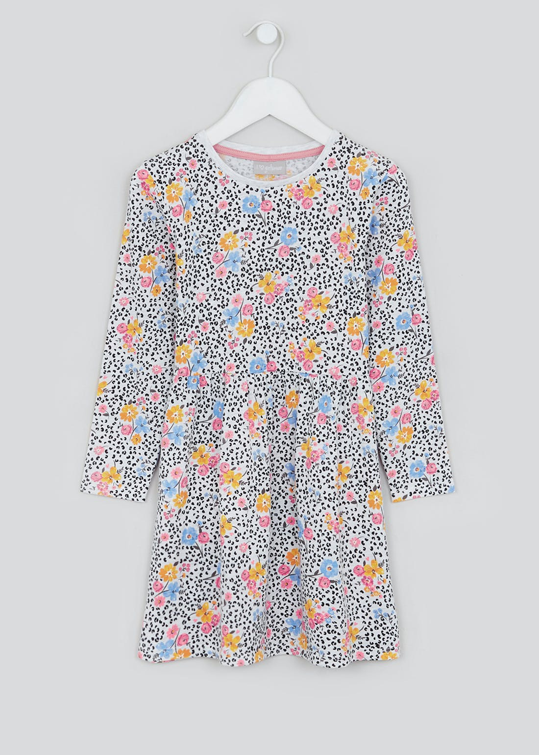Girls Oatmeal Long Sleeve Floral Jersey Dress (4-13yrs)