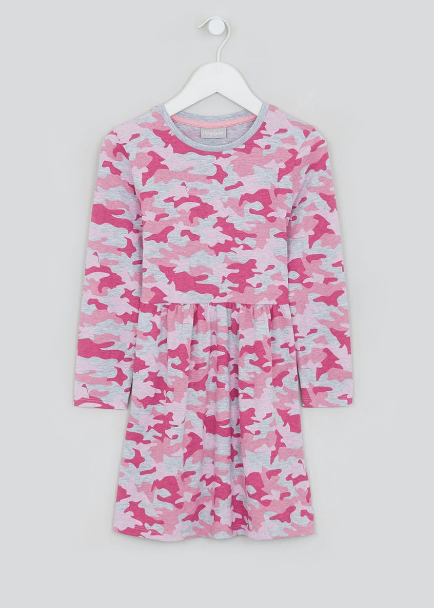 Girls Pink Long Sleeve Camo Jersey Dress (4-13yrs)