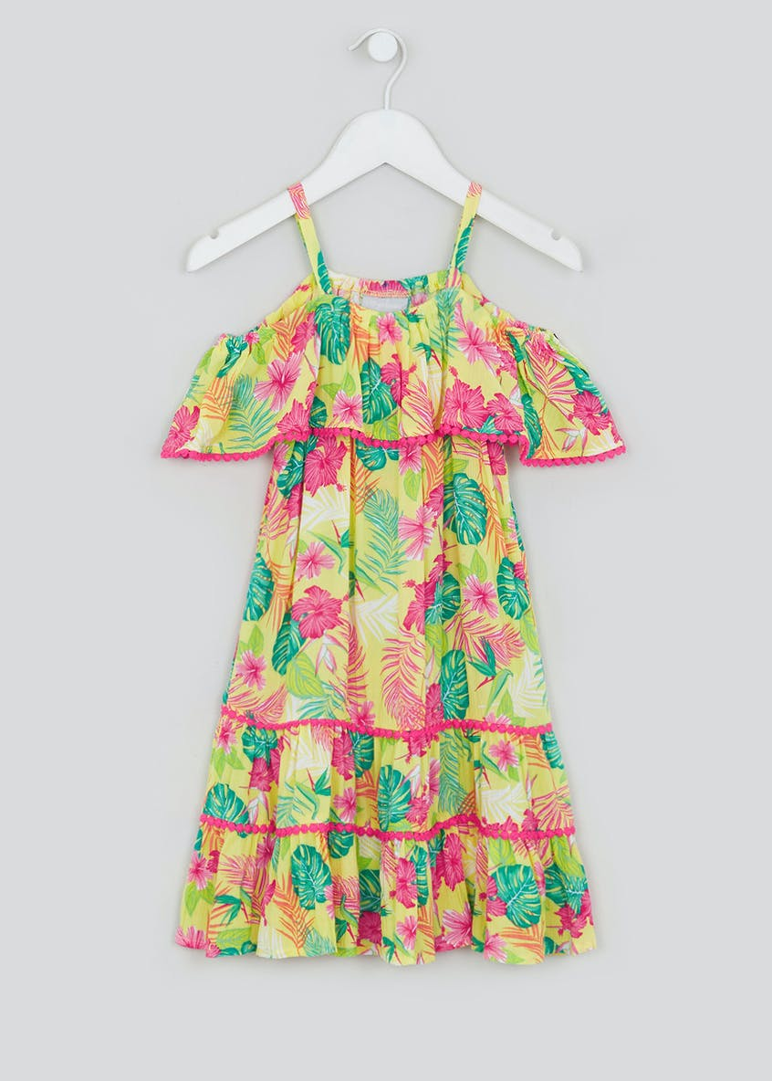 Girls Yellow Palm Print Bardot Dress (4-13yrs)