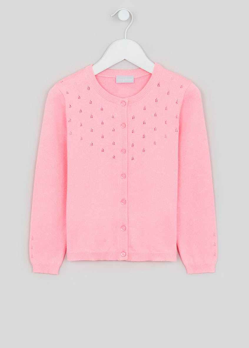 Girls Pointelle Button Cardigan (4-13yrs)