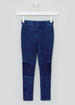 Girls Denim Look Biker Leggings (4-13yrs)
