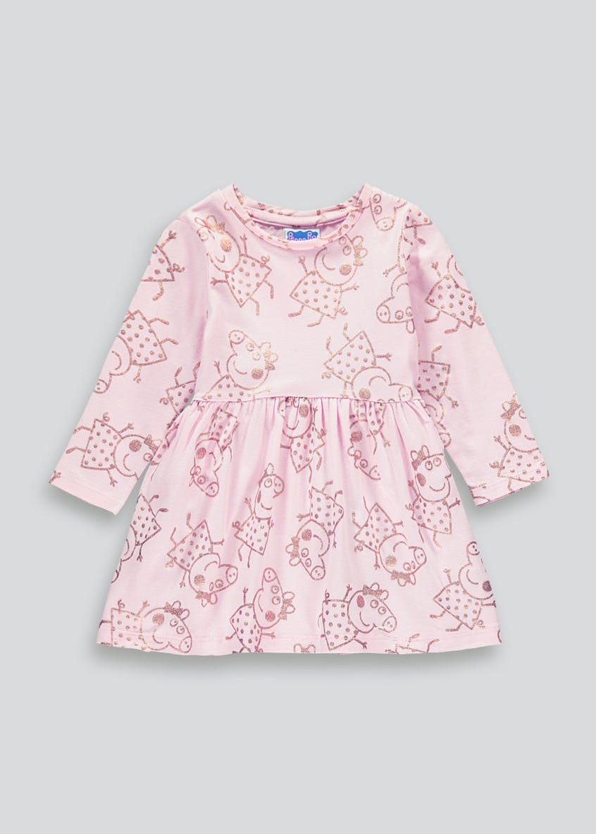 Girls Peppa Pig Pink Long Sleeve Dress (9mths-5yrs)