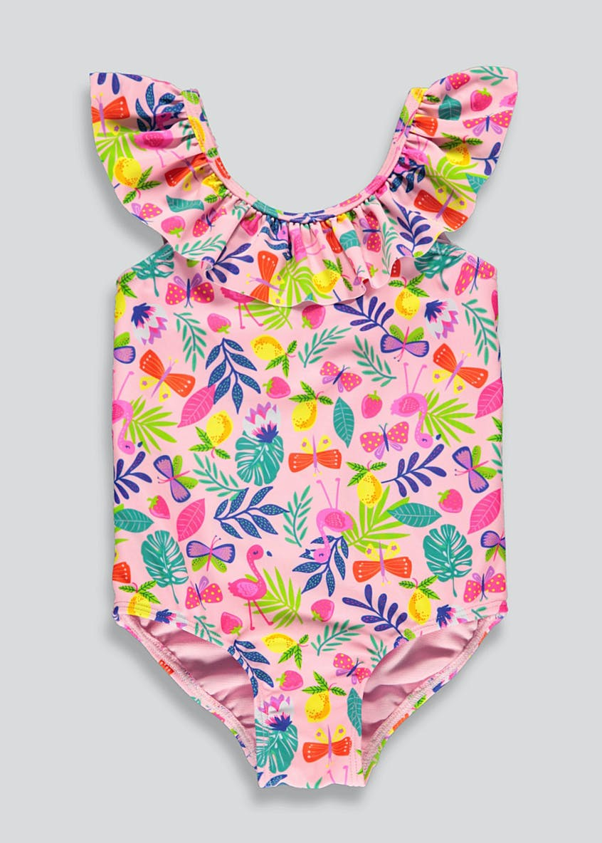 Girls Tropical Print Swimming Costume (6mths-6yrs)