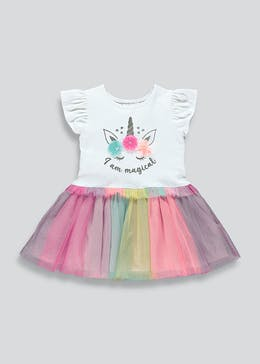 Girls Rainbow Short Sleeve Tutu Dress (9mths-6yrs)