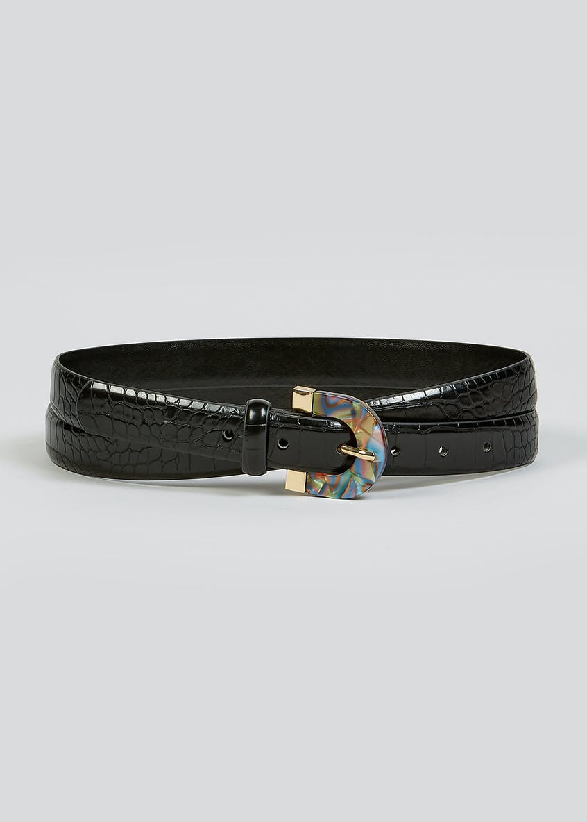 Rainbow Buckle Mock Croc Belt