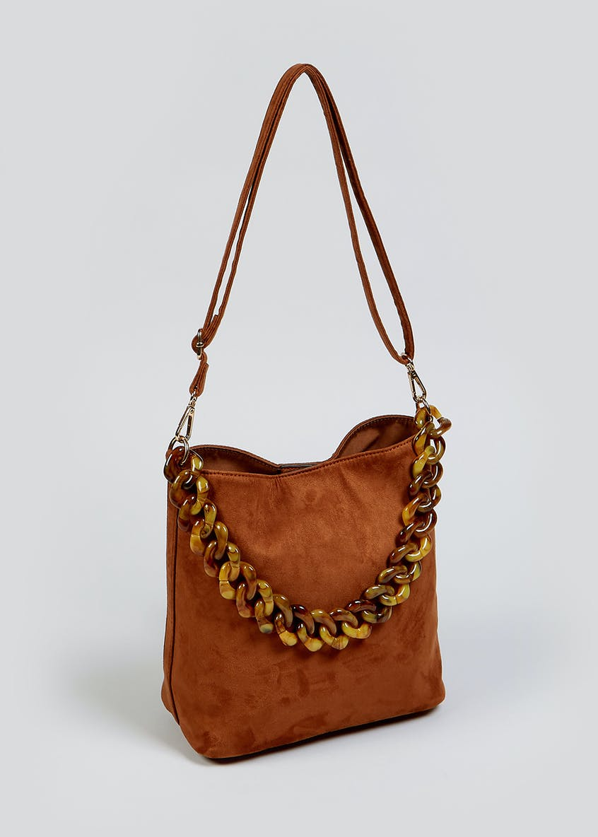 Tortoiseshell Chain Bucket Bag