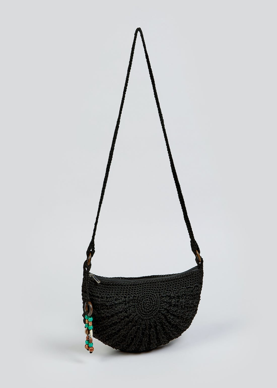 Crochet Cross Body Half Moon Bag