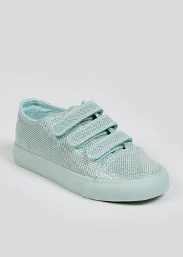 Girls Turquoise Riptape Strap Trainers (Younger 10-Older 5)