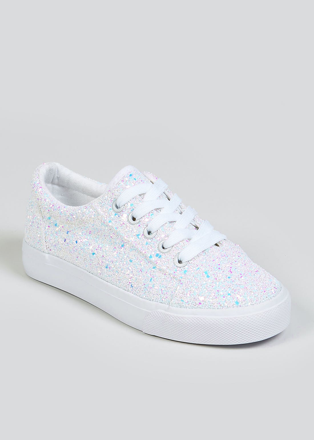 Girls White Glitter Lace Up Trainers (Younger 10-Older 5)