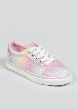 Girls Rainbow Glitter Lace Up Trainers (Younger 10-Older 5)