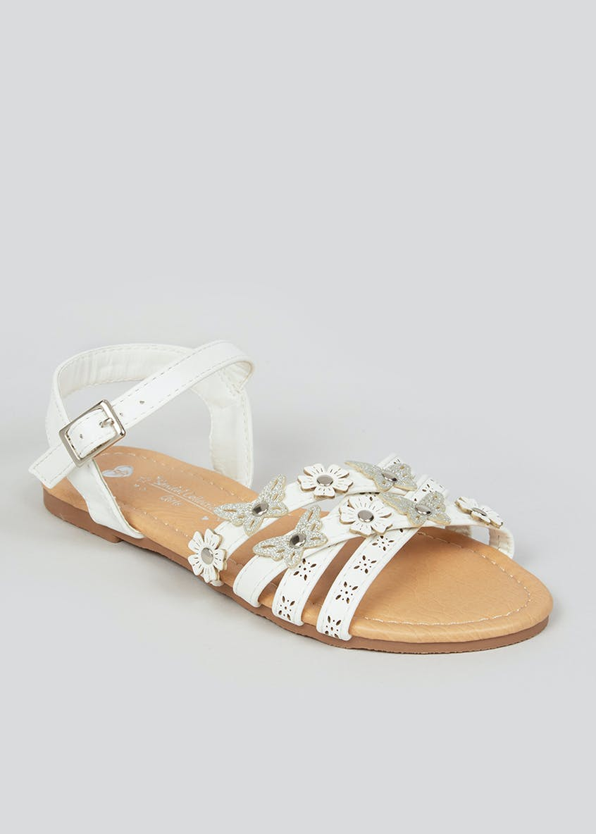 Girls White Strappy Sandals (Younger 10-Older 5)