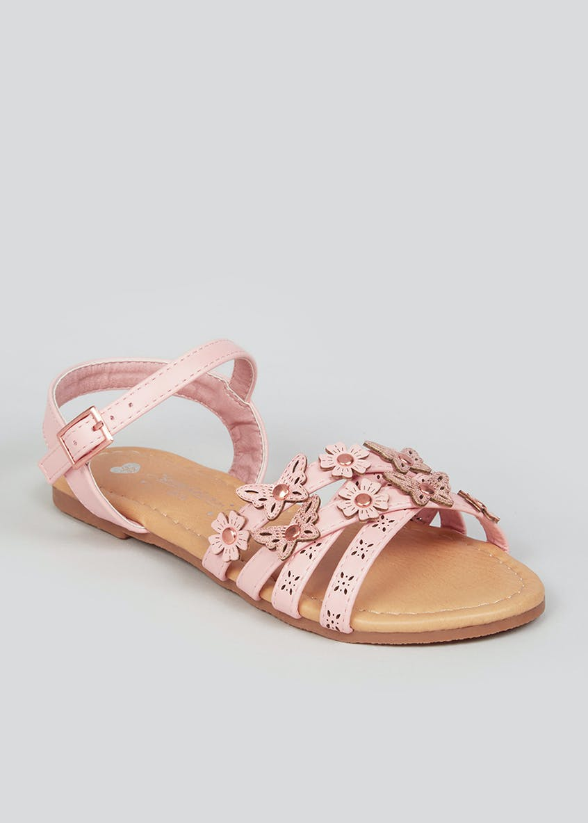 Girls Pink Strappy Sandals (Younger 10-Older 5)