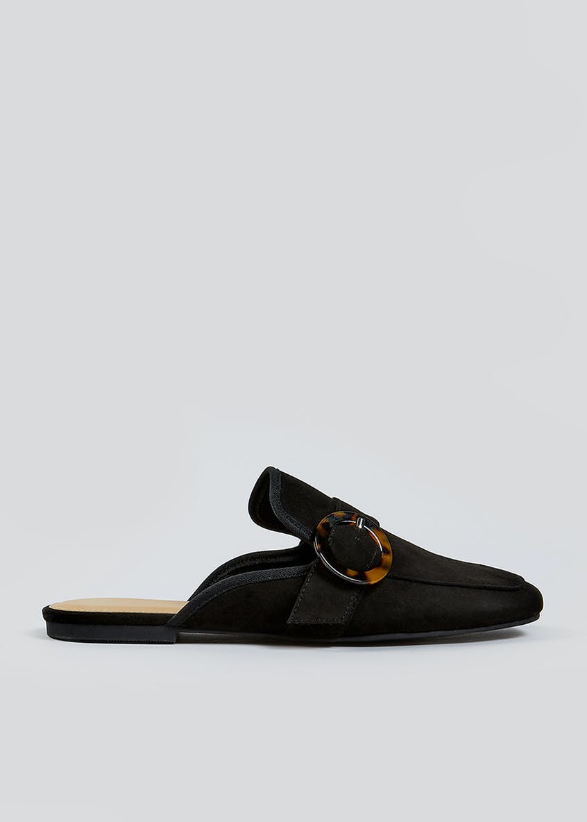 Black Backless Mule Loafers