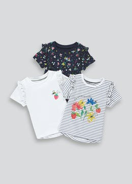 Girls 3 Pack Short Sleeve Floral T-Shirts (9mths-6yrs)