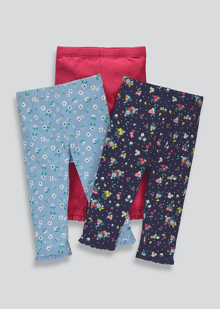 Girls 3 Pack Floral Leggings (9mths-6yrs)