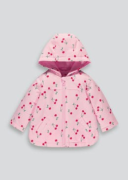 Girls Pink Cherry Print Mac (9mths-6yrs)