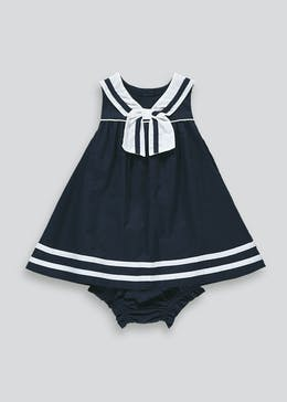 Girls Navy Sailor Dress & Knickers Set (Newborn-23mths)