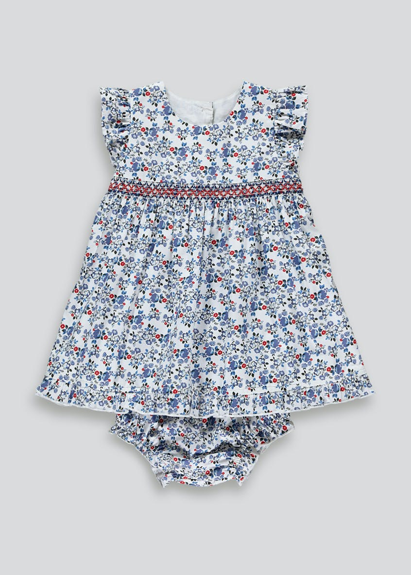 Girls Floral Short Sleeve Dress & Knickers Set (Newborn-23mths)