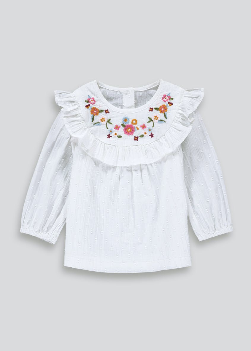 Girls White Embroidered Long Sleeve Blouse (9mths-6yrs)