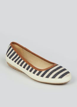 Soleflex Navy Stripe Ballet Pumps