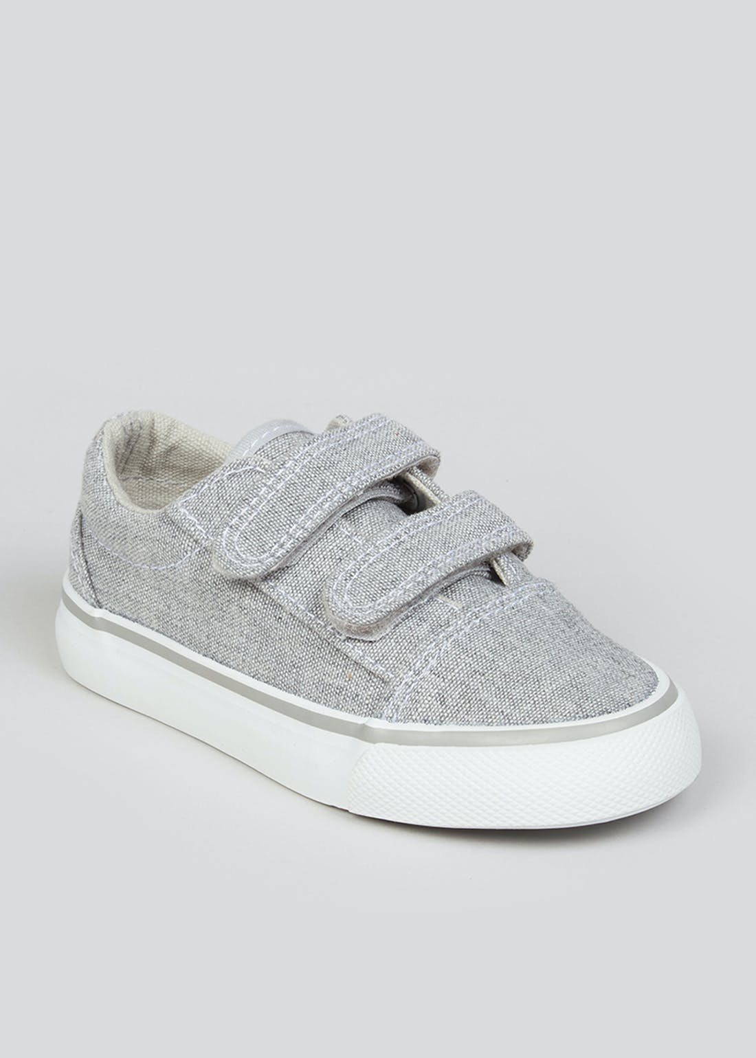 Boys Grey Riptape Strap Trainers (Younger 4-12)