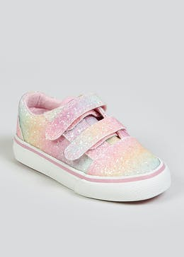 Girls Rainbow Riptape Strap Trainers (Younger 4-9)