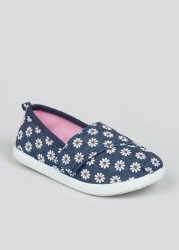 Girls Blue Floral Slip On Pumps (Younger 4-12)