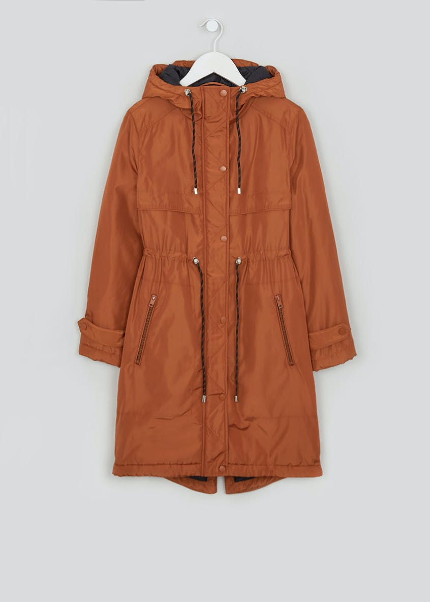 Papaya Petite Rust Padded Hooded Parka