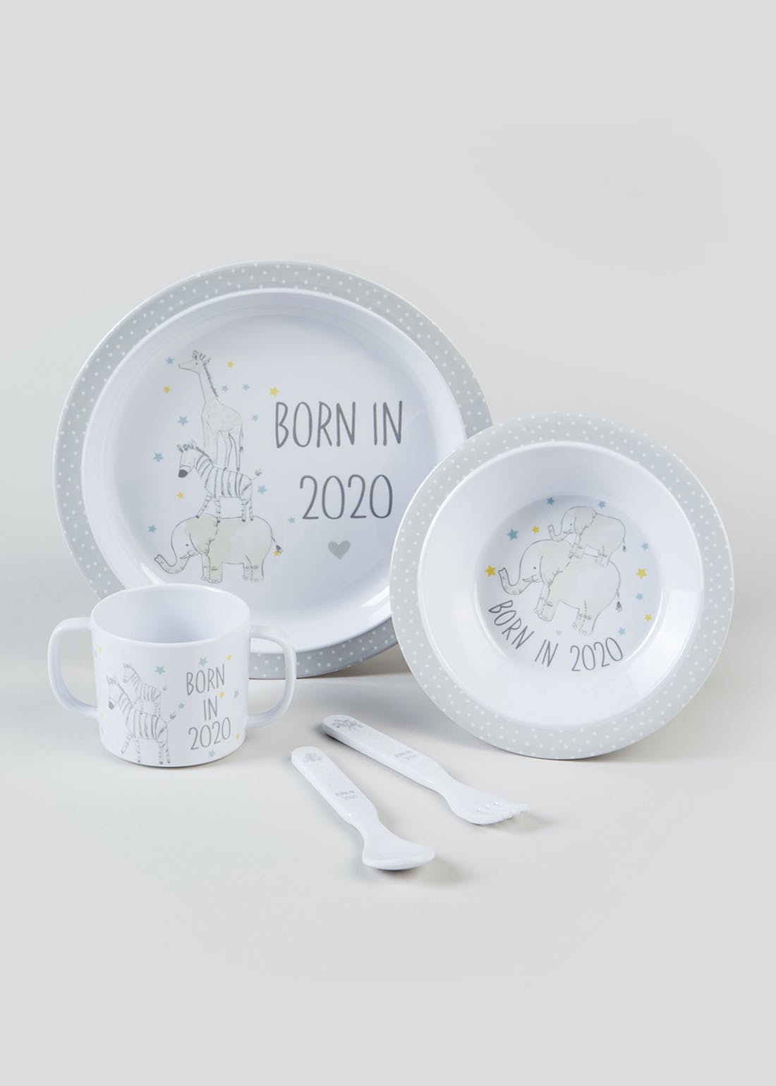 Born in 2020 Baby Plastic Dinner Set