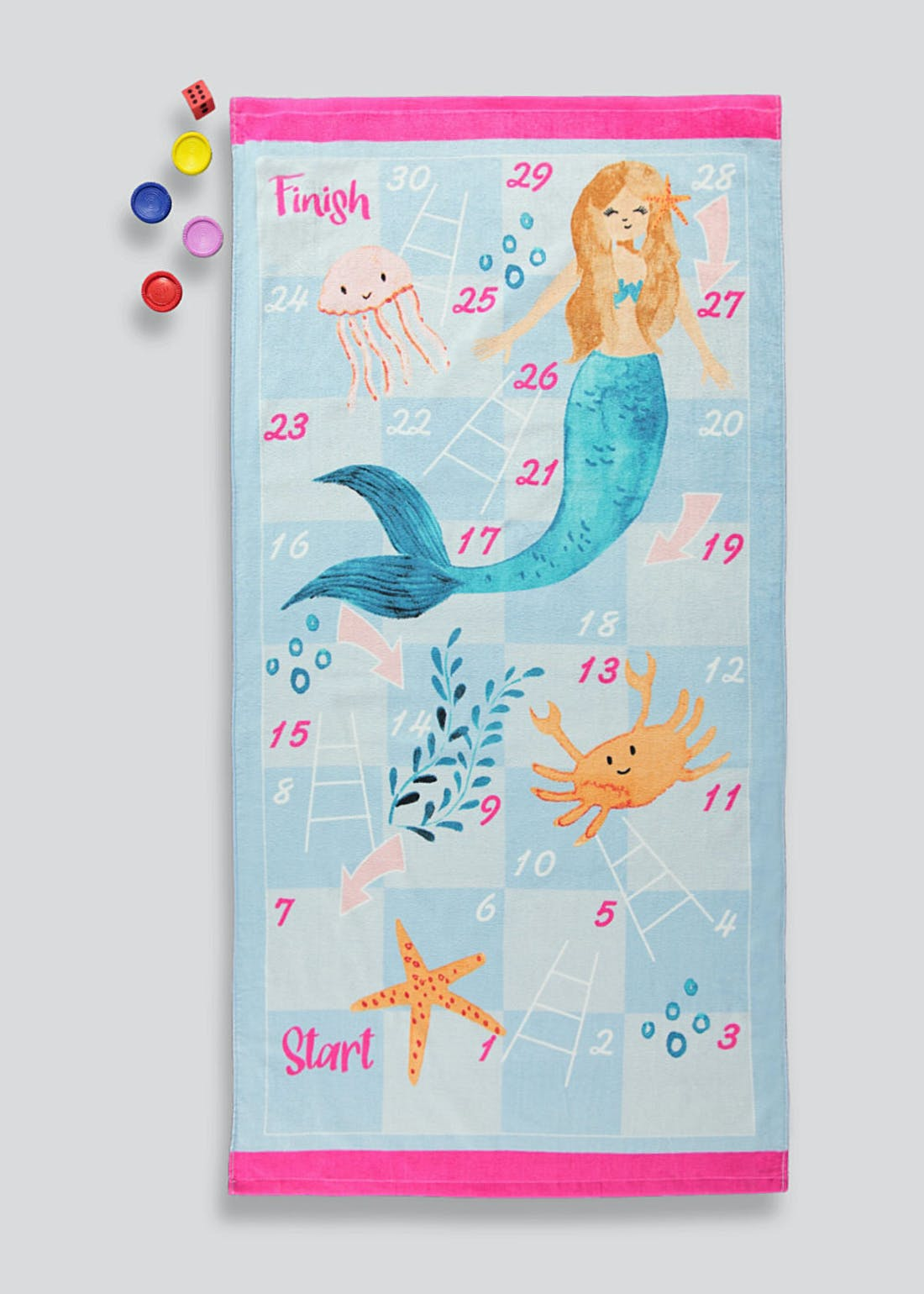 Mermaid Snakes & Ladders Beach Towel Set