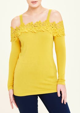 Soon Lace Trim Bardot Jumper