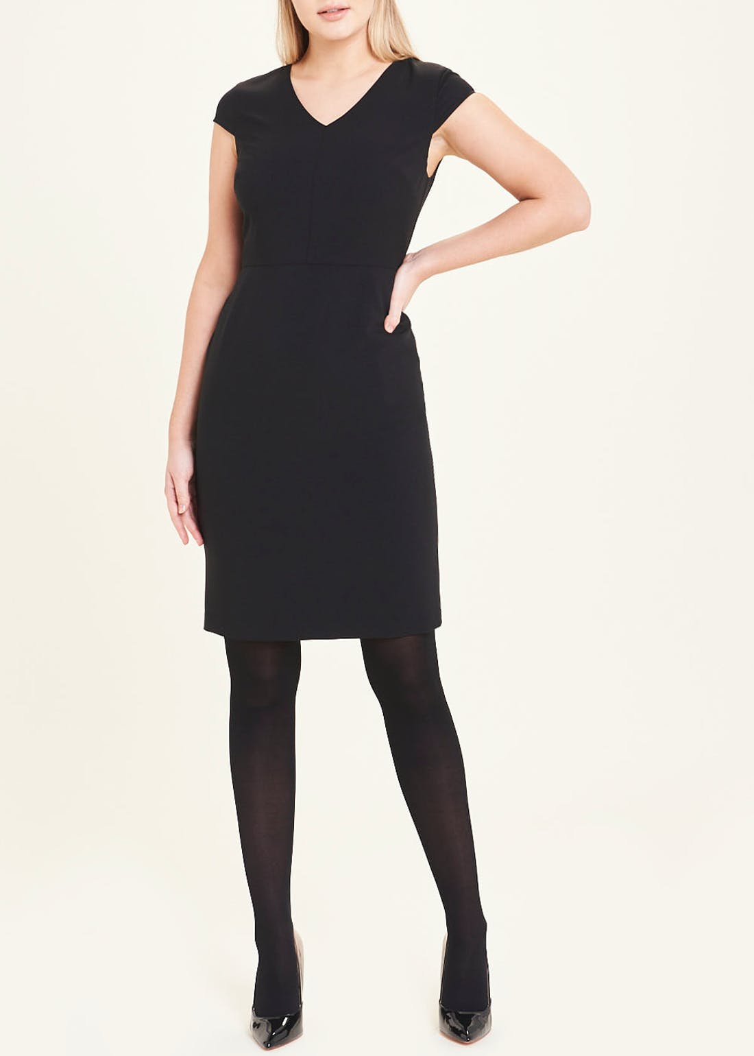 Black Cap Sleeve Bi-Stretch Suit Dress