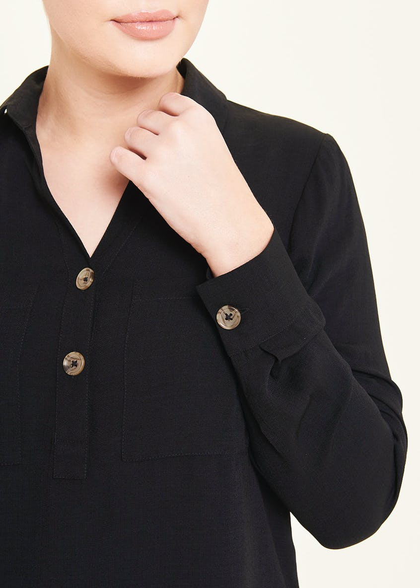 Black Long Sleeve Double Pocket Button Blouse